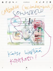 Esimerkki akvarellikurssin teoriamuistiinpanoista, jotka olen tehnyt Bamboo Paper -sovelluksella. Pohjaksi on haettu netistä kuva, jonka avulla opettaja selittä sommittelun periaatteita. Nopeaa ja täsmällistä!