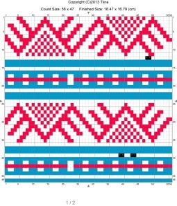 StitchSketch-sovelluksella piirretty kirjoneulekuvio Paper-sovelluksella luonnosteltuun jakkuun.