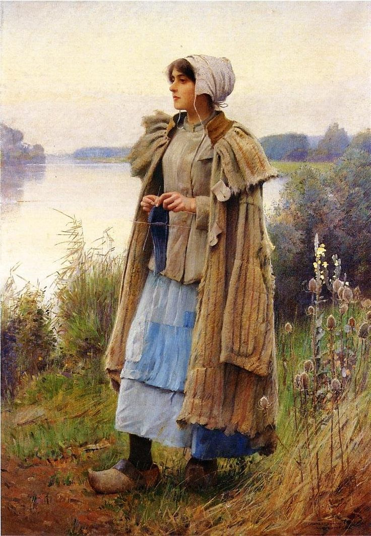 Charles Sprague Pearce: Knitting in the Fields.